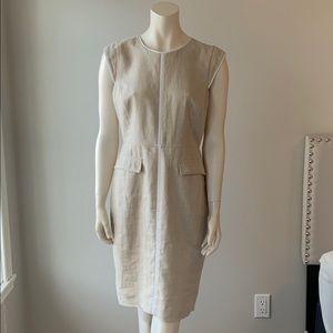 J. CREW Dress Size 8 Beige 100% Linen